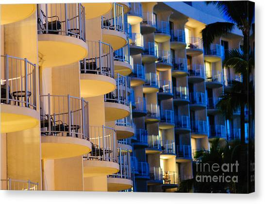 Blue And White Hotel Balcony Abstract. Canvas Print