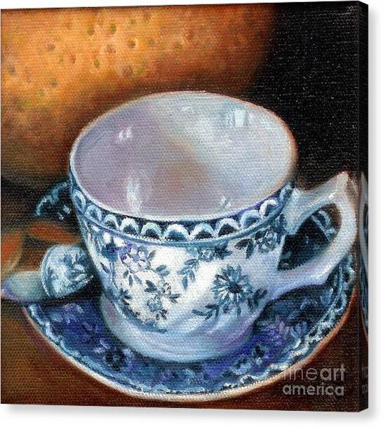 Blue And White Teacup With Spoon Canvas Print