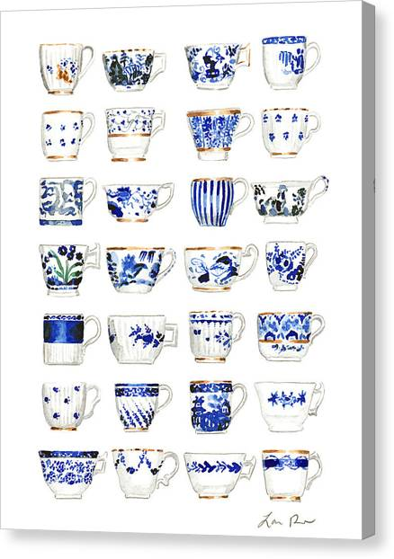 Tea Time Canvas Print - Blue And White Teacups Collage by Laura Row Studio