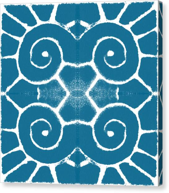 Iphone Case Canvas Print - Blue And White Wave Tile- Abstract Art by Linda Woods