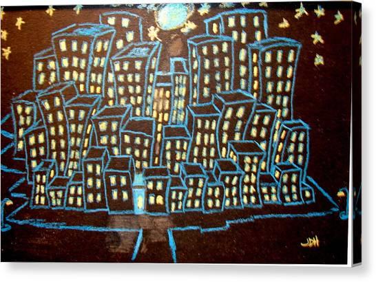 Blue House On The Left Canvas Print