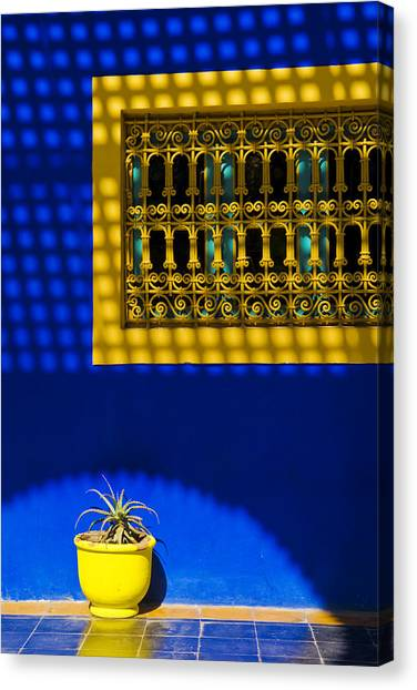 Blue And Yellow Patterns Canvas Print