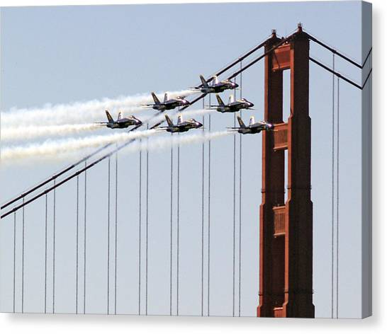 Blue Angels And The Bridge Canvas Print