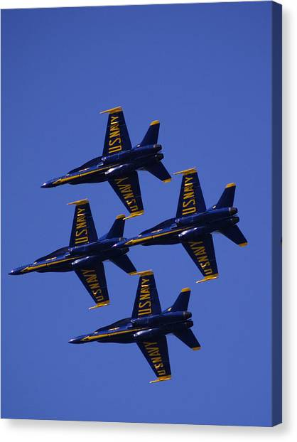 Acrobatic Canvas Print - Blue Angels by Bill Gallagher