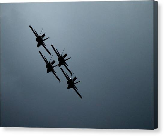F16 Canvas Print - Blue Angels In Silhouette by Saya Studios