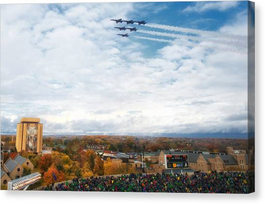 Notre Dame University Canvas Print - Blue Angels Over Notre Dame Stadium by Mountain Dreams