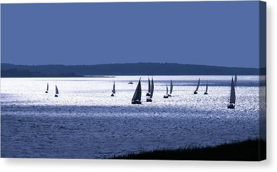 Sailing Canvas Print - Blue Armada II by Douglas Pittman