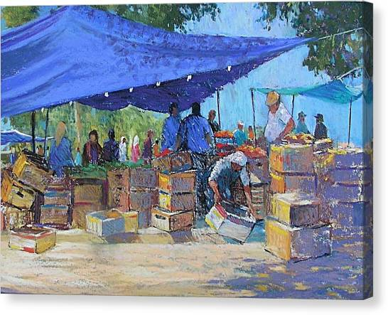 Blue Awnings Canvas Print by Jackie Simmonds