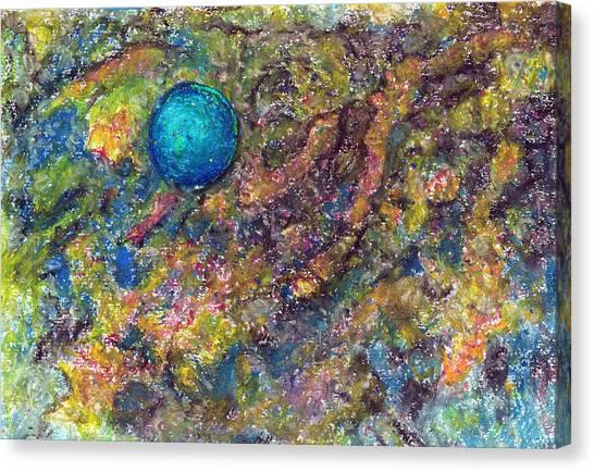 Blue Ball In Space Canvas Print by Yuri Lushnichenko