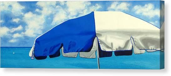 Blue Beach Umbrellas 1 Canvas Print