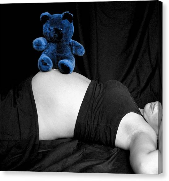 Blue Bear And Baby Belly Canvas Print by Melissa Kimball
