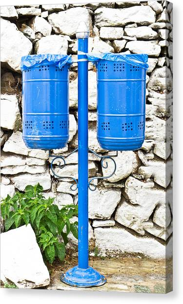 Rubbish Bin Canvas Print - Blue Bins by Tom Gowanlock