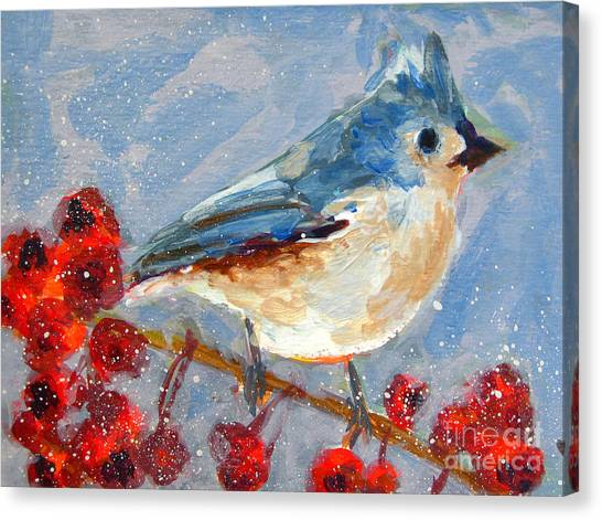 Blue Bird In Winter - Tuft Titmouse Modern Impressionist Art Canvas Print