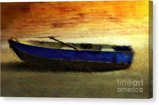 Canvas Print featuring the painting Blue Boat At Sunset by Sandra Bauser Digital Art