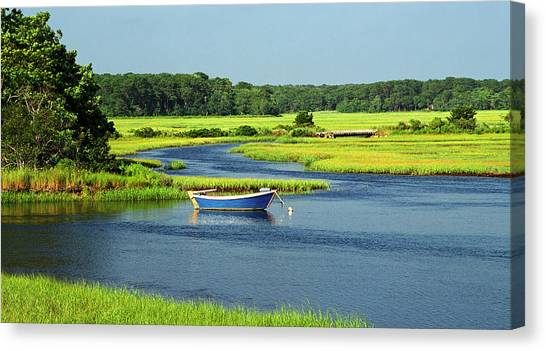 Blue Boat On The Herring River Canvas Print