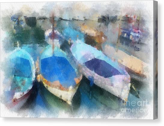 Blue Boats Canvas Print