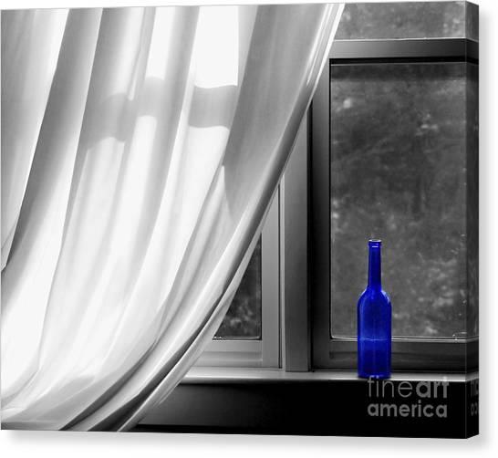 Wine Bottles Canvas Print - Blue Bottle by Diane Diederich