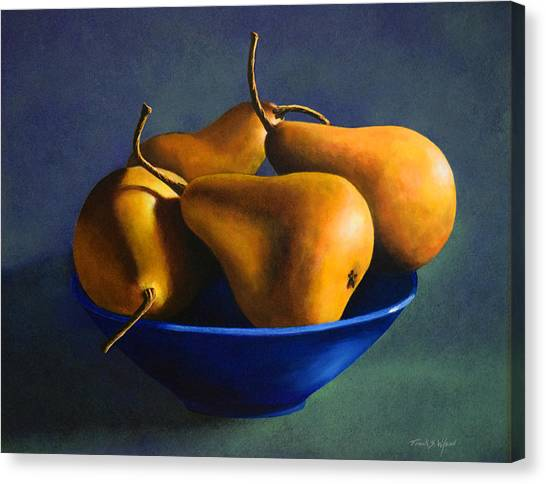 Blue Bowl With Four Pears Canvas Print