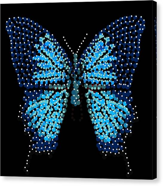 Blue Butterfly Black Background Canvas Print