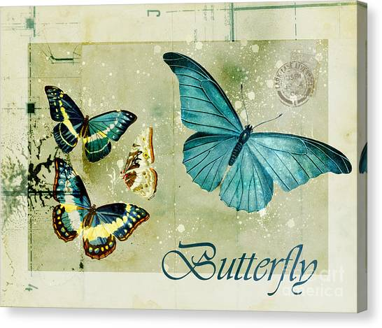 Bugs Canvas Print - Blue Butterfly - S55c01 by Variance Collections