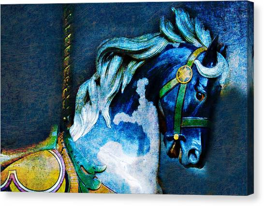 Blue Carousel Horse Canvas Print