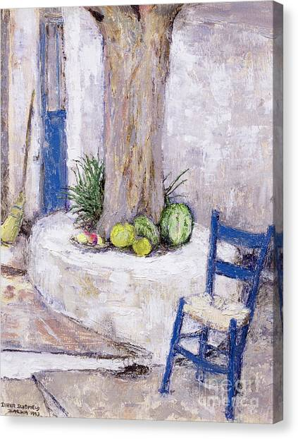 Watermelons Canvas Print - Blue Chair By The Tree by Diana Schofield