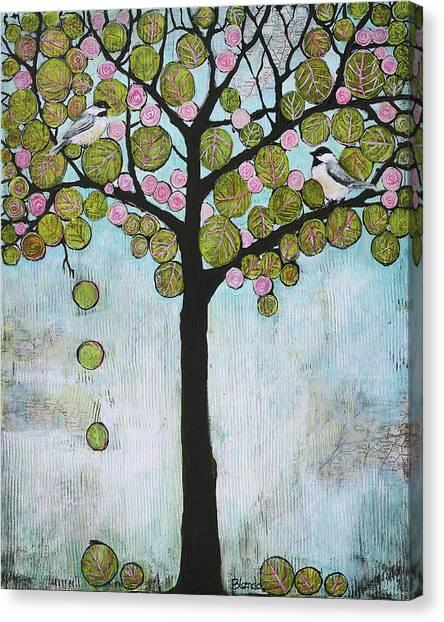 Blossom Canvas Print - Blue Chickadee Tree by Blenda Studio