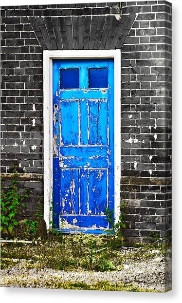 Blue Chipped Canvas Print