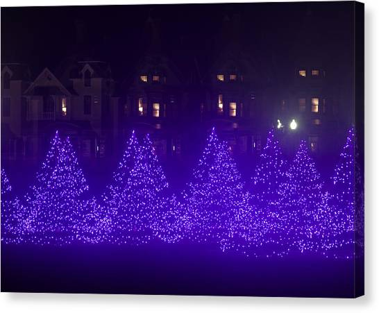 Blue Christmas Tree Forest Canvas Print