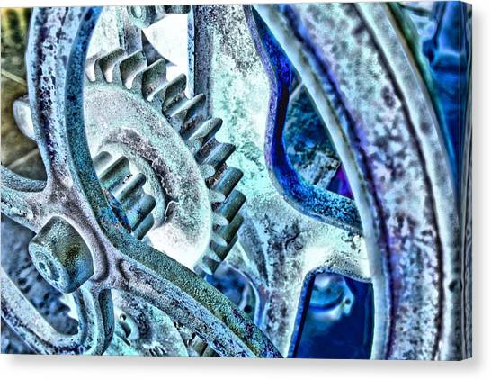 Canvas Print featuring the photograph Blue Cogs by David Rich