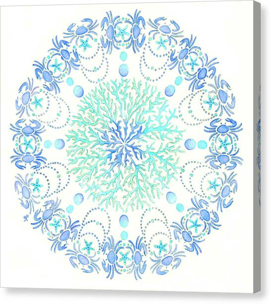 Coastal Art Canvas Print - Blue Crab Mandala 5 by Stephanie Troxell
