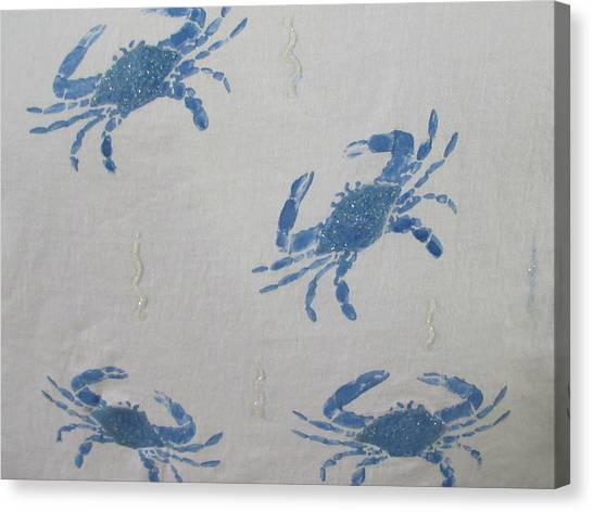Blue Crabs On Sand Canvas Print