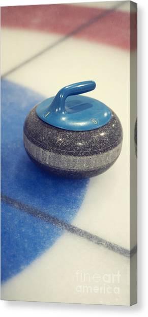 Iced Tea Canvas Print - Blue Curling Stone by Priska Wettstein
