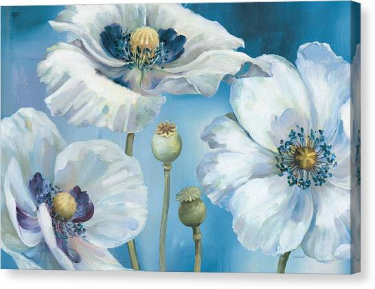 White Flower Canvas Print - Blue Dance I by Lisa Audit