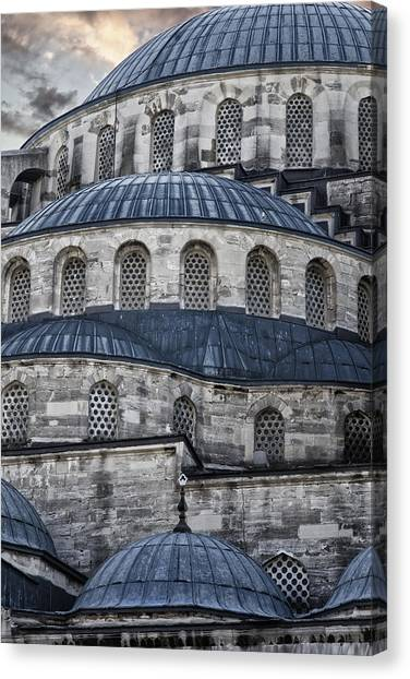 Muslim Canvas Print - Blue Dawn Blue Mosque by Joan Carroll