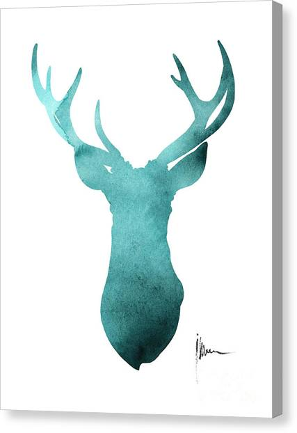 Deer Canvas Print - Blue Deer Antlers Watercolor Art Print Painting by Joanna Szmerdt