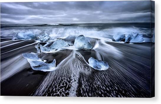 Black Sand Canvas Print - Blue Diamonds by Jes?s M. Garc?a