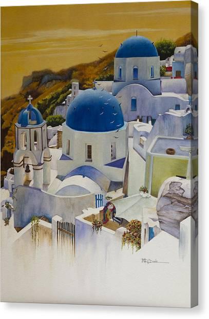 Blue Domes Of Santorini Greek Islands Canvas Print