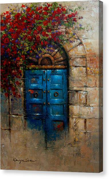 Awesome Blue Door   Italian Door With Rose Bush From Tuscany Print Canvas Print By  Kanayo Ede
