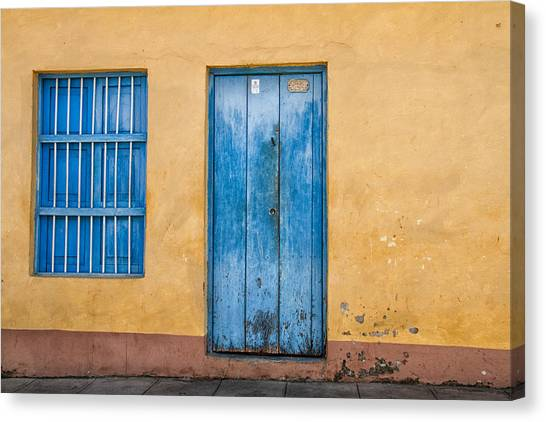 Blue Door And Window Canvas Print