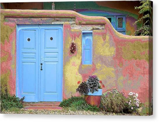 Blue Door In Ranchos Canvas Print