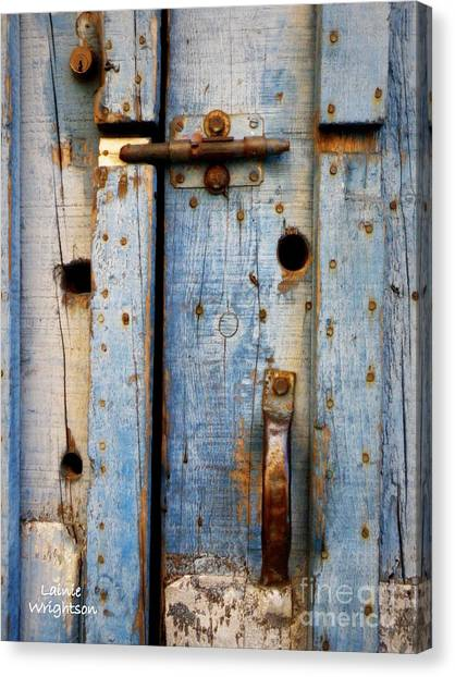 Blue Door Weathered To Perfection Canvas Print