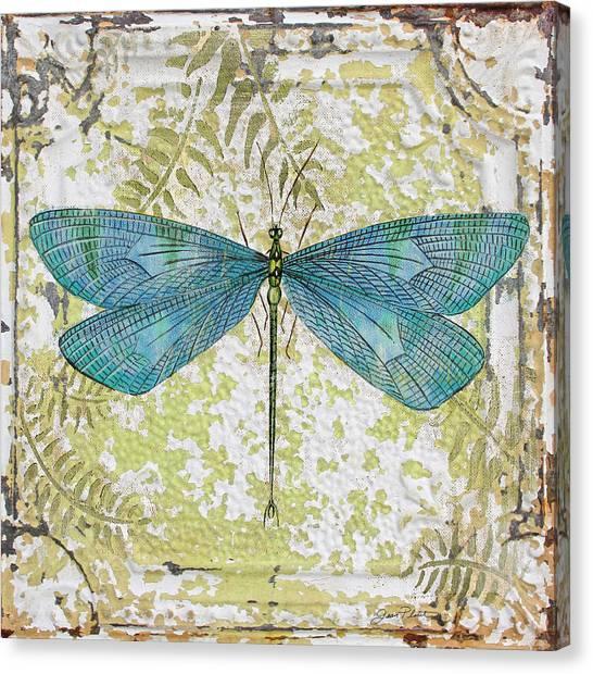 Blue Dragonfly On Vintage Tin Canvas Print