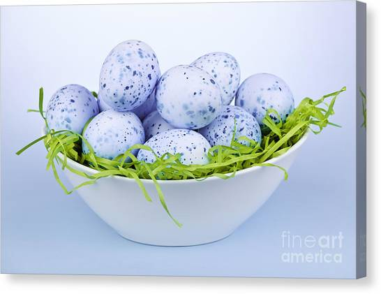 Easter Eggs Canvas Print - Blue Easter Eggs In Bowl by Elena Elisseeva