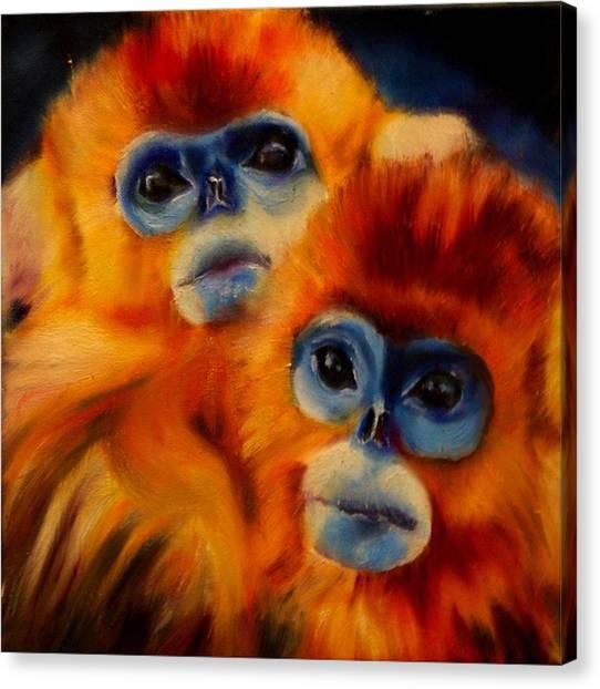 Blue Faced Monkey Canvas Print
