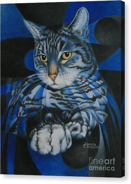 Blue Feline Geometry Canvas Print