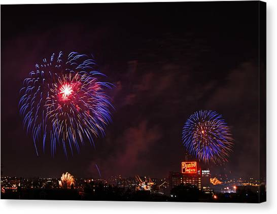 Blue Fireworks Over Domino Sugar Canvas Print