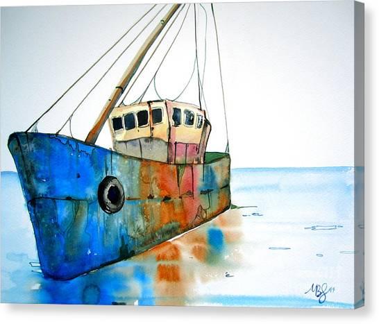 Blue Fishing Boat Canvas Print by Maya Simonson