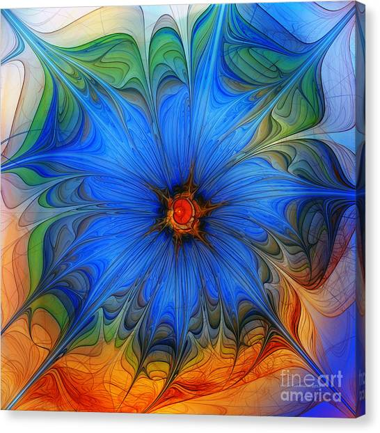 Blue Flower Dressed For Summer Canvas Print