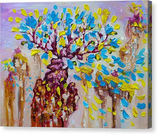 Blue Flower Painting Tree Art Oil On Canvas By Ekaterina Chernova Canvas Print